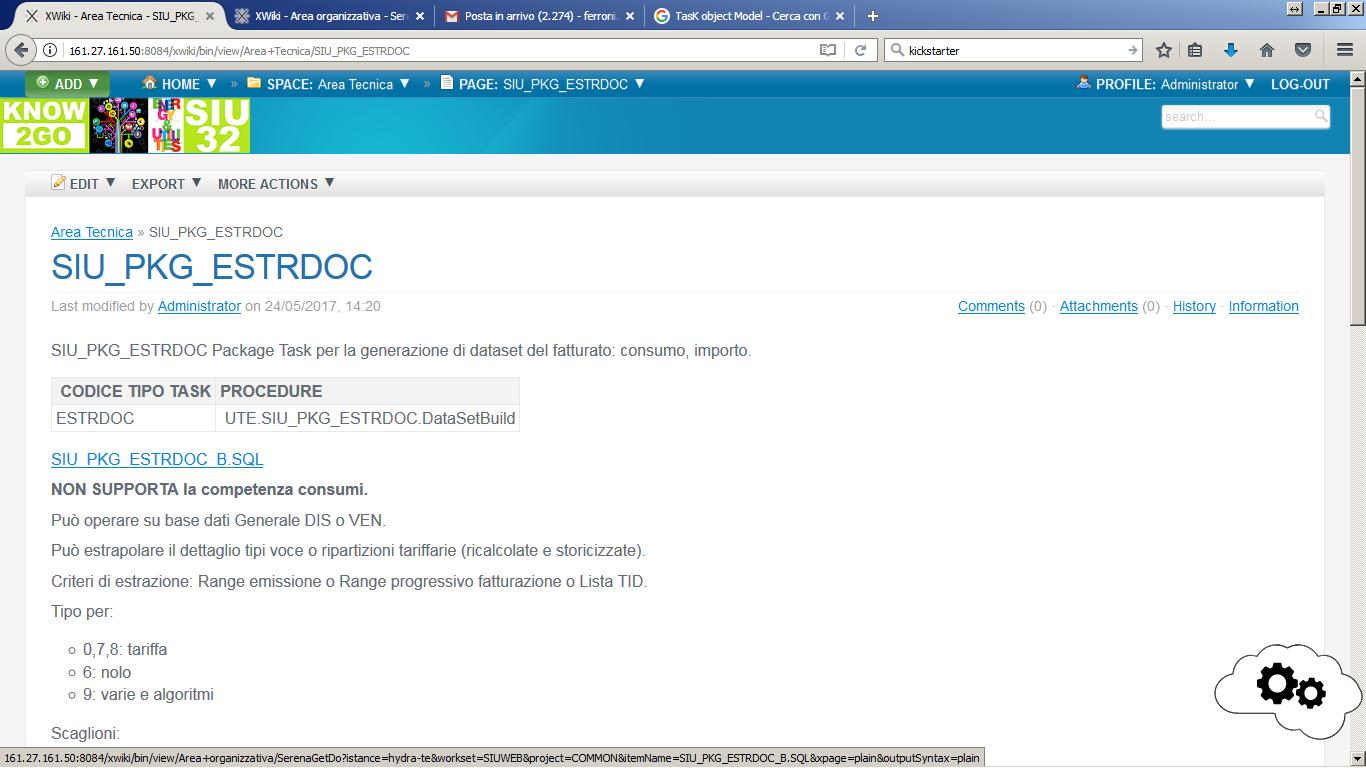 Documento XWiki con l'URL al package Oracle archiviato nel CMS
