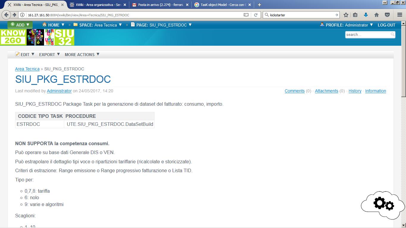 Documento per descrivere il package Oracle prima di inserire la macro