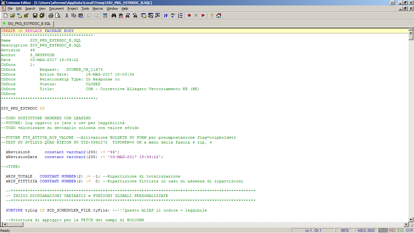Package Oracle estratto dal CMS ed aperto nell'Editor associato