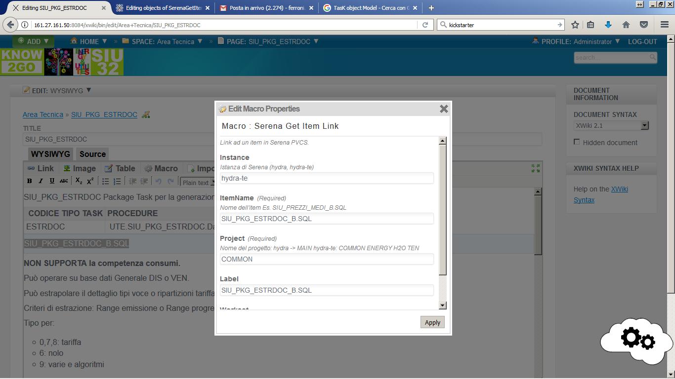 Fase di impostazione dei parametri di input della Macro Serena per referenziare il package Oracle di interesse