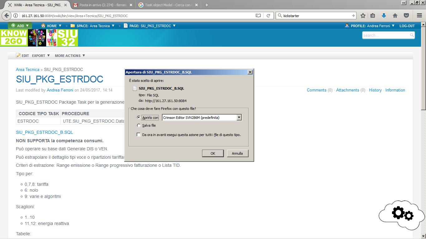 Fase di scaricamento del sorgente del package Oracle estratto dal CSM